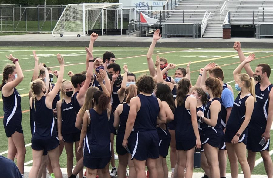 The Dallastown Unified Track team has a team huddle after their victory over Susquehannock at Senior Night on April 28. Dallastown currently has two unified teams: bocce in the winter and track in the spring.