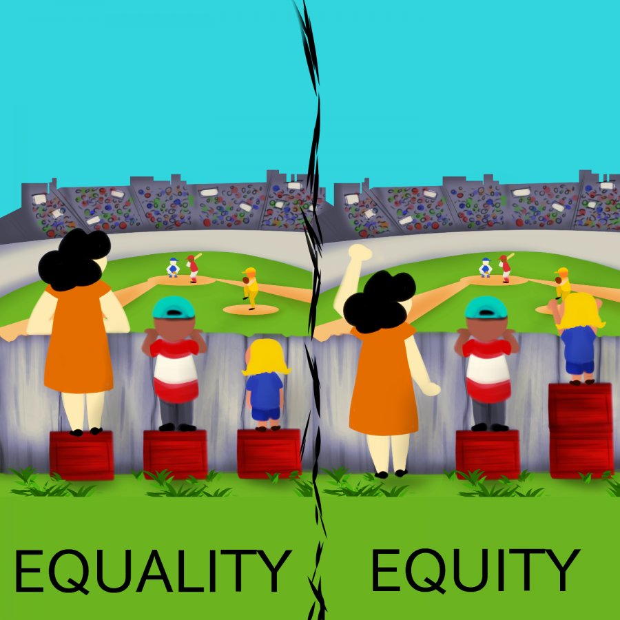 Equality means giving everyone the same opportunities. Equity means allocating resources such that equal outcomes are achieved.