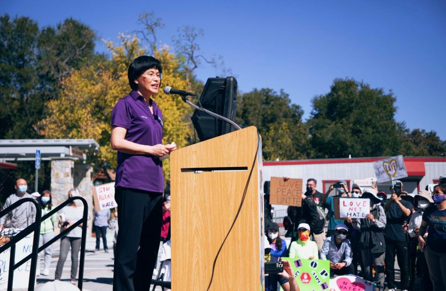 Mayor Yan Zhao shares her own experiences with racism at the West Valley Stop Asian Hate Rally on March 27.