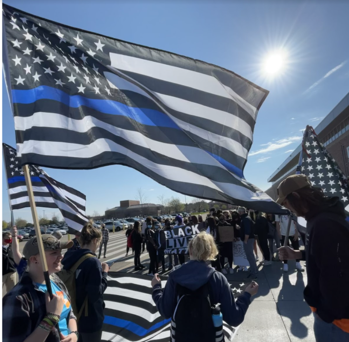 Students walk out April 29 in support of law enforcement
