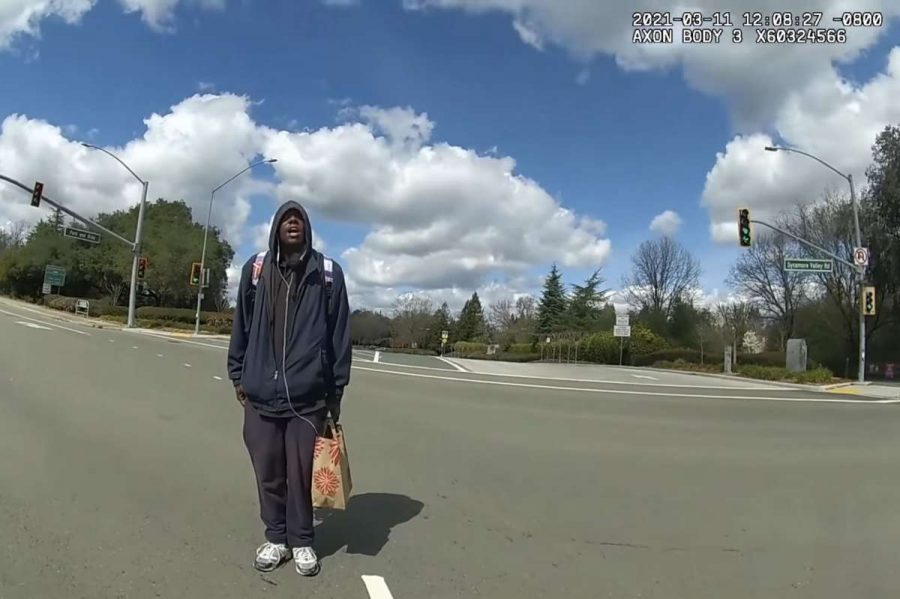 A homeless man named Tyrell Wilson was shot and killed by Danville police Officer Andrew Hall on March 11. This photo of Wilson is from Hall's body camera shortly before he was shot in a Danville intersection near Interstate 680.