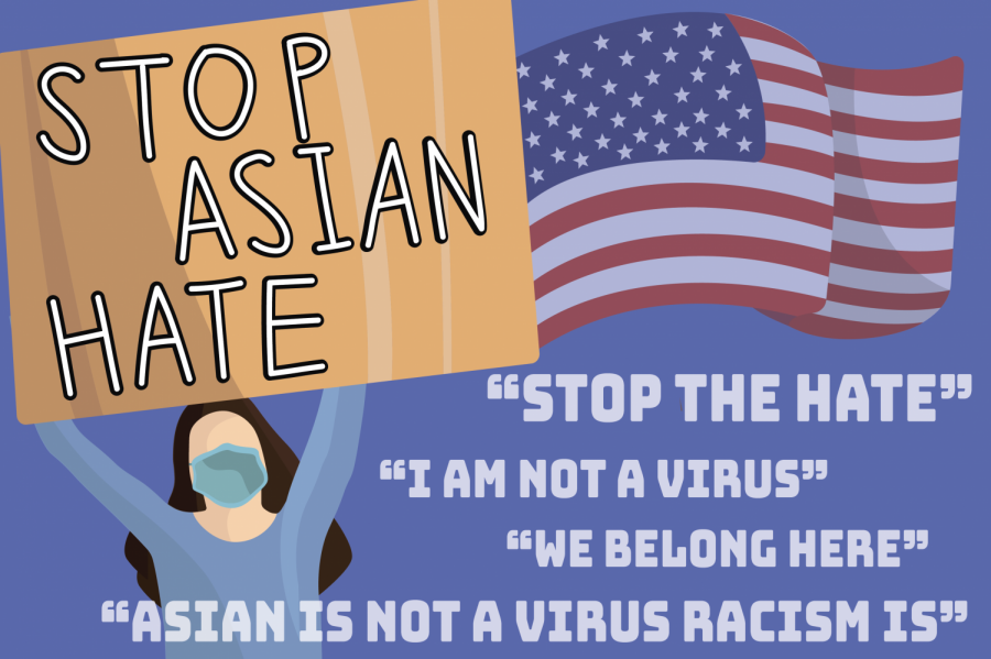 A graphic made by junior Soomin 'Julia' Chung argues against Asian American and Pacific Islander hate crimes. Anti-AAPI racism hate crimes have increased over the last year during the pandemic.