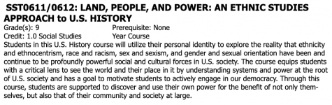 As part of the MHS social studies department's initiative to revamp the curriculum, Land, People, and Power: An Ethnic Studies Approach to U.S. History already appears in the MHS 2021-2022 Course Offerings Booklet. This class will focus on critical thinking and diverse perspectives as they pertain to American history. Required for all freshmen starting next year, this course will add a new layer of cultural awareness to every student's high school experience.