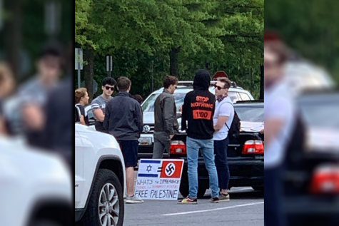 A group of Whitman students encountered men with an anti-Israel poster in the school's parking lot Tuesday evening. A photo of the sign circulated among Whitman students, many of whom condemned the poster's rhetoric on Instagram.