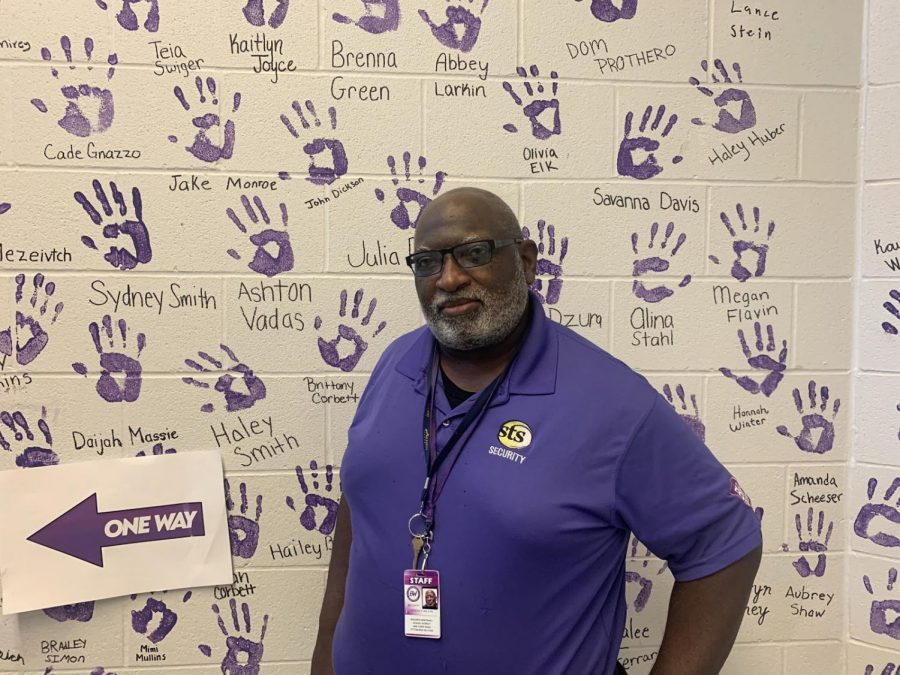 Roderick Wilson, a security guard at Baldwin High School, is known for his enthusiastic morning greetings to students and for attending school sports events.