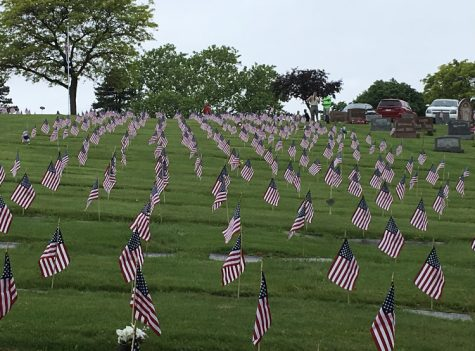 Over 600 flags planted by Boy Scouts Troop 81 over a field in Pittsburgh