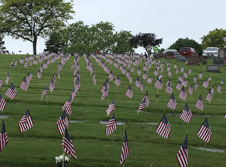 Over 600 flags planted by Boy Scouts Troop 81 over a field in Pittsburgh's North Hills, honoring the lives of men and women who have died in combat.