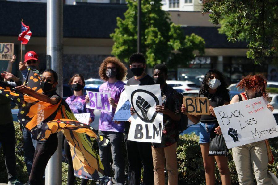 Protestors assemble along San Antonio Road on the anniversary of George Floyd's death