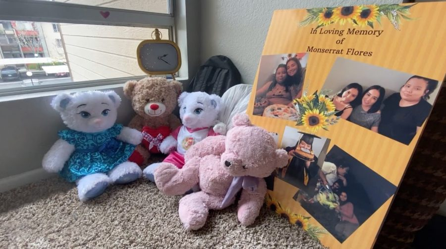 Recent graduate (class of 2020) Monserrat Flores' stuffed animals placed in a corner of her sister Vanessa Flores' room in remembrance of her.