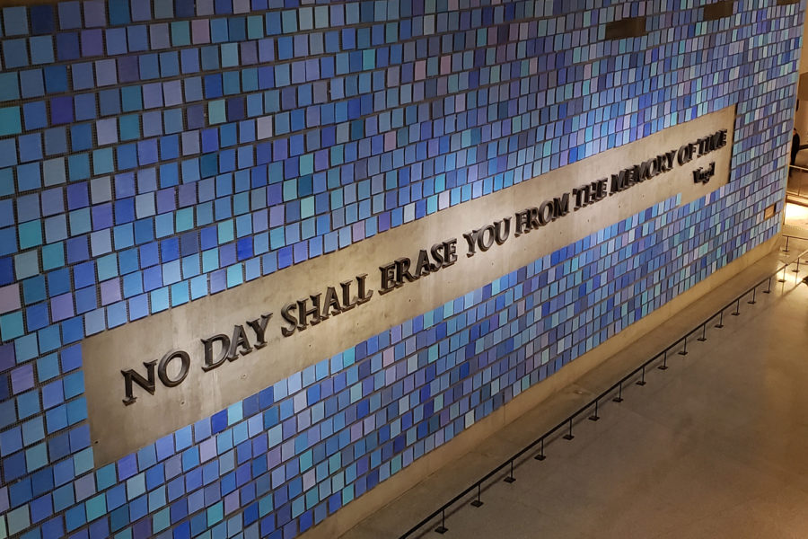 Occupying a huge wall in the 9/11 Memorial & Museum, this mural created by Spencer Finch is titled