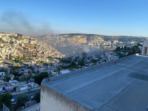 OVERLOOK: From the balcony of his dorm overlooking the Kotel, David Edwards
