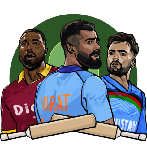 From left to right, Kieron Pollard from West Indies, Virat Kohli from India and Rashid Khan from Afghanistan pose together. In their careers, Pollard, Kohli and Khan have cemented their places as top T20 cricket players internationally.